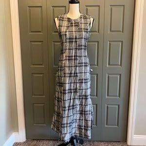 Zara Frayed Plaid Midi Tank Shift Dress